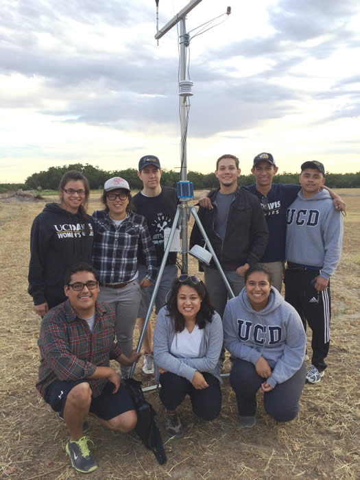 CHIPS research team posing for photo in field with temperature data collection device