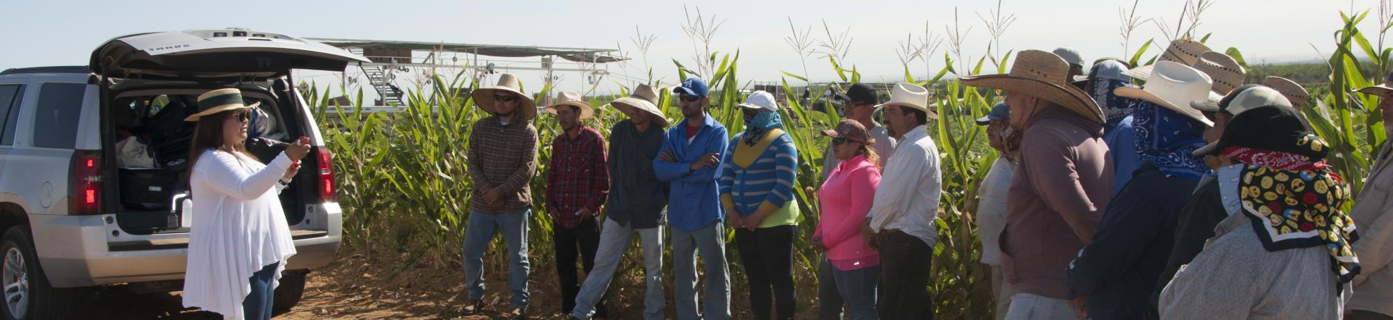 Farmworkers listening to Outreach Specialist Teresa Andrews explain signs and symptoms of heat illness